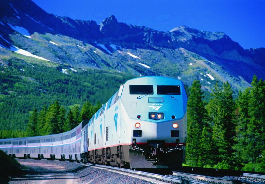 Amtrak's Empire Builder traveling the tracks near Glacier National Park. Photo: Amtrak