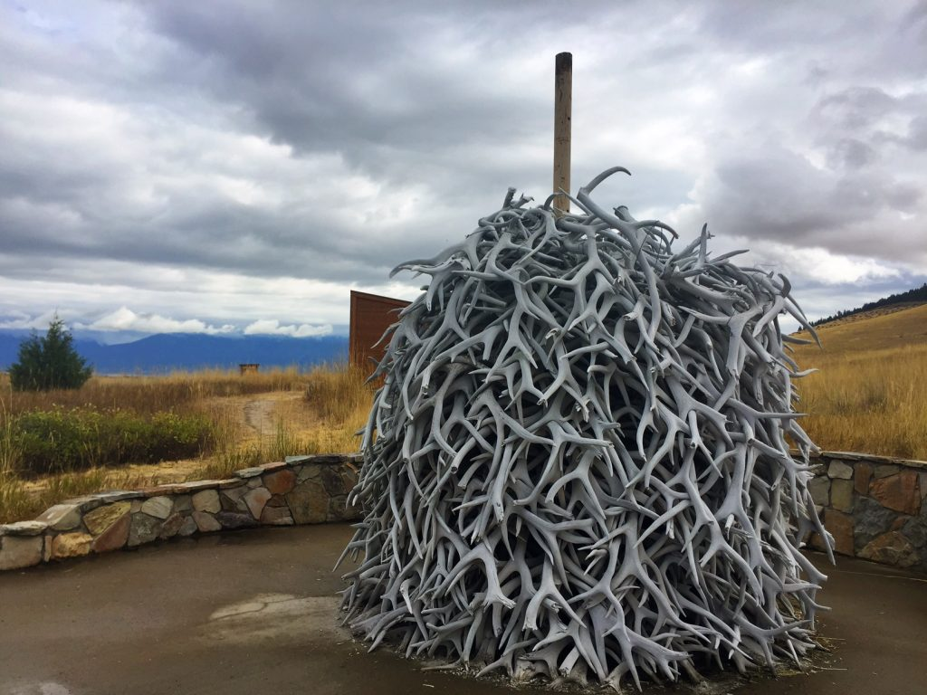 This pile of elk antlers, collected on the range, welcome visitors to the range and its visitor center.