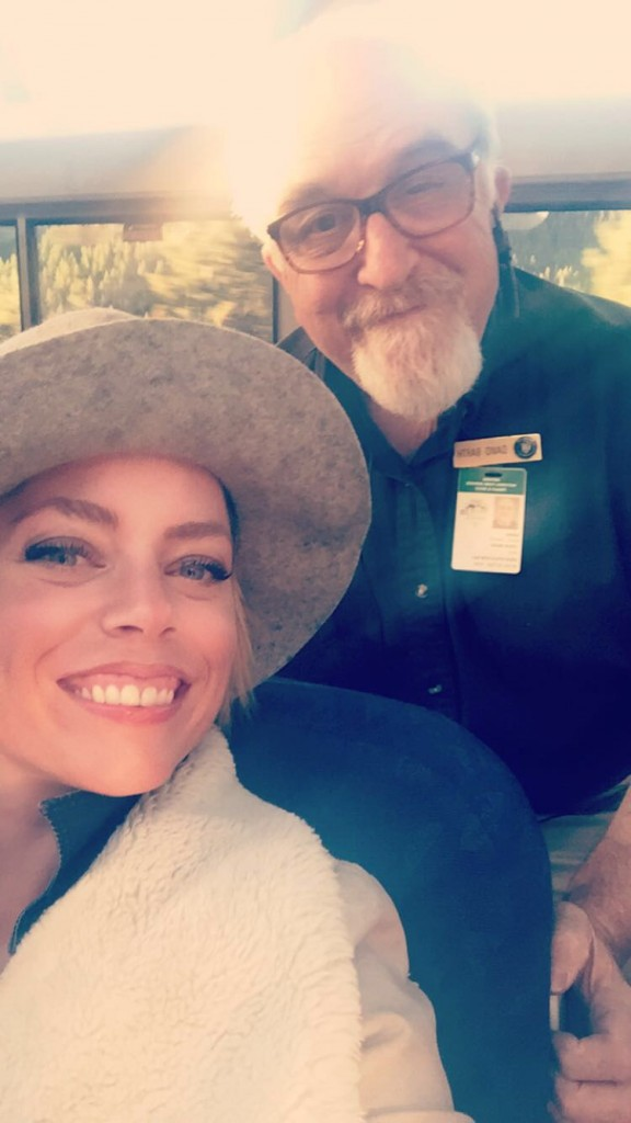 Making friends with a National Park volunteer in the observation car.