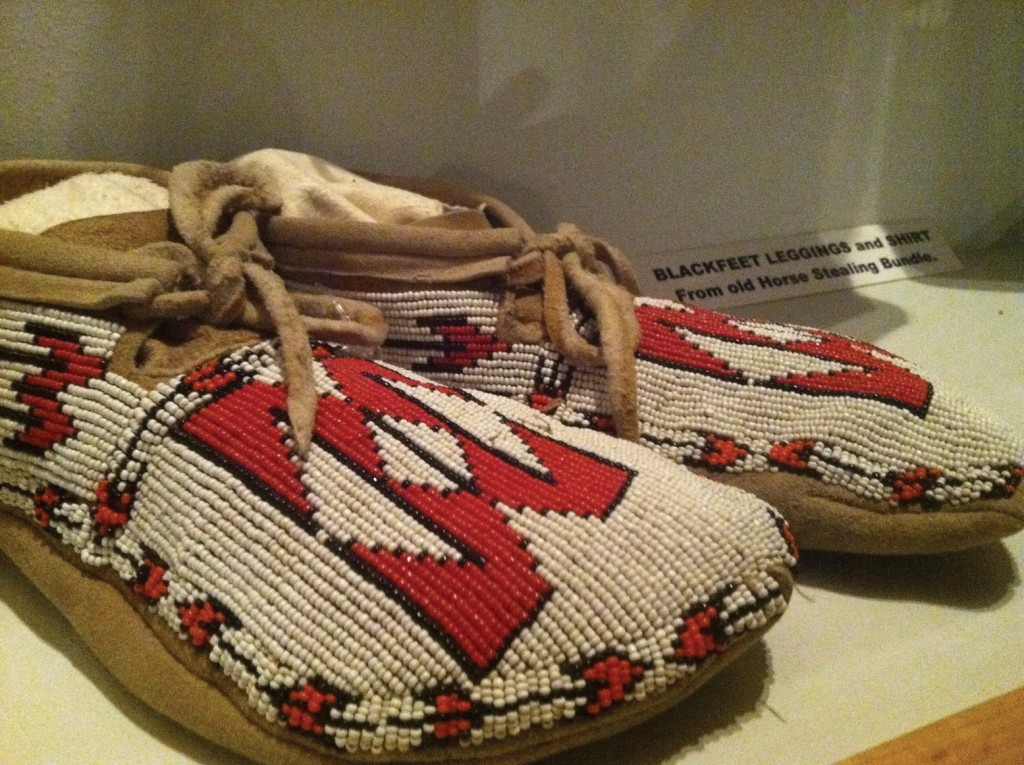Handcrafted moccasins at the museum.
