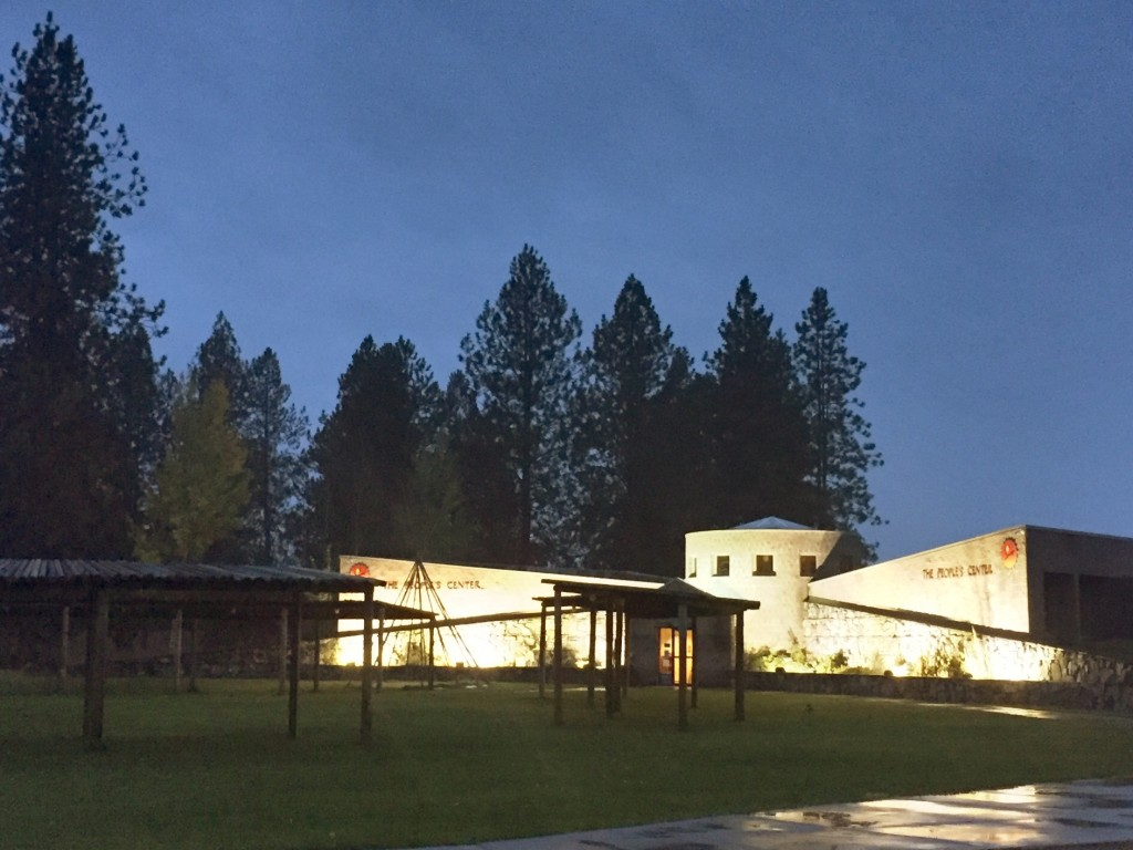 The People's Center at night.
