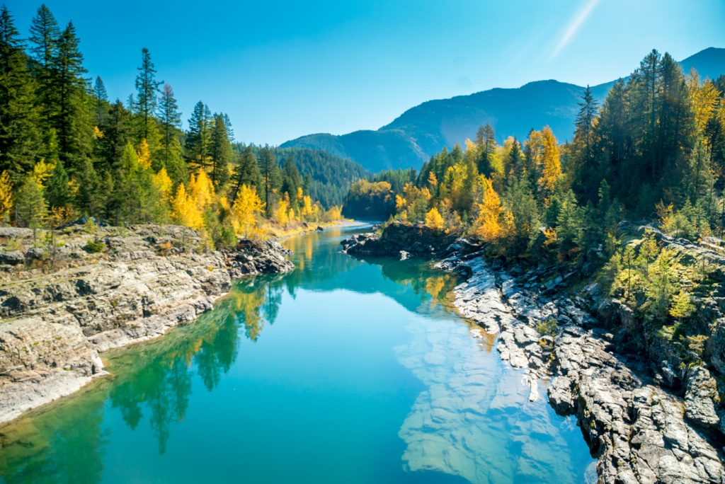 The Middle Fork of the Flathead River from Belton Bridge in West Glacier.