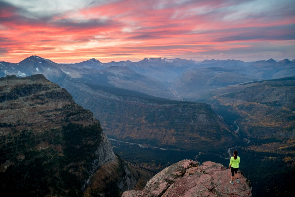 A perfect fall sunset from Oberlin Peak in Glacier National Park.